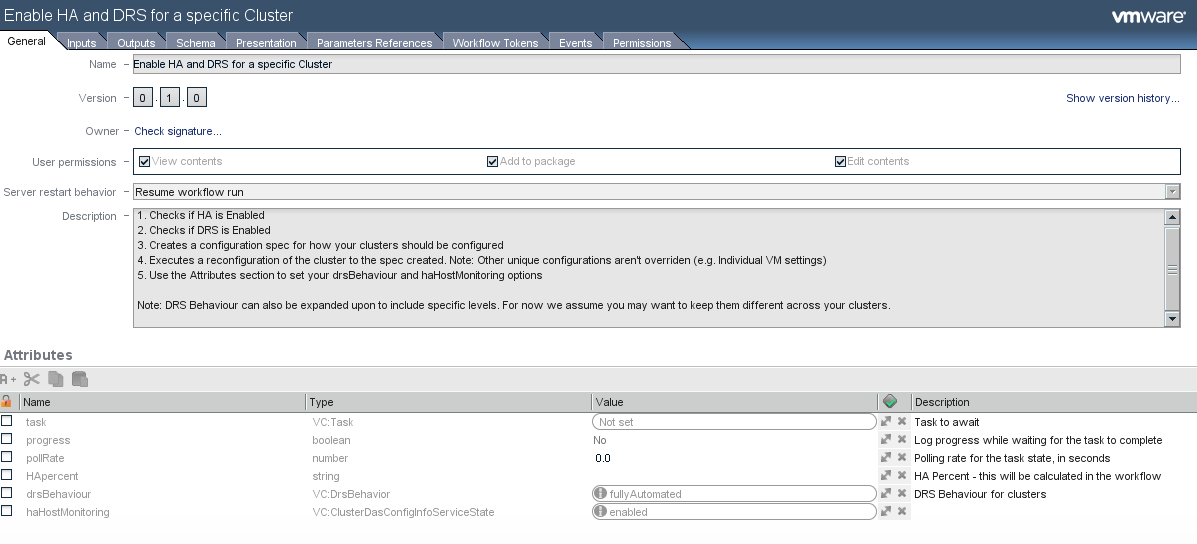 Automating HA and DRS settings in multiple clusters using VMware